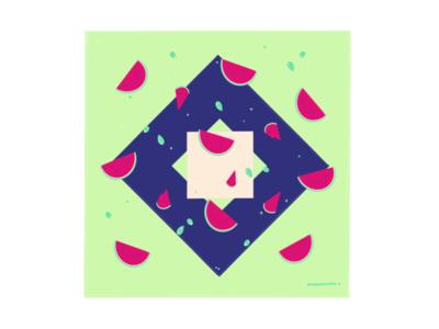 Melon Vibes fruits falling design procreate blue drawing green high sugar watermelon shapes patterns melon