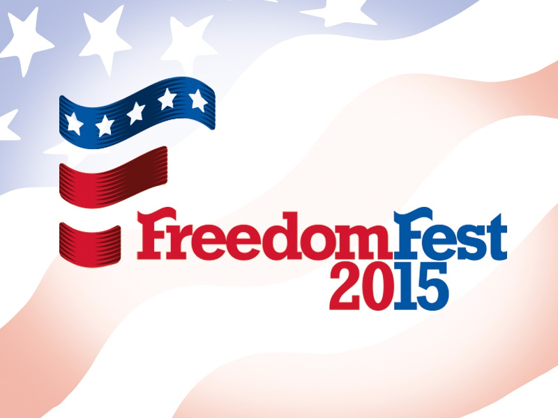 FreedomFest typography flag red white blue logo