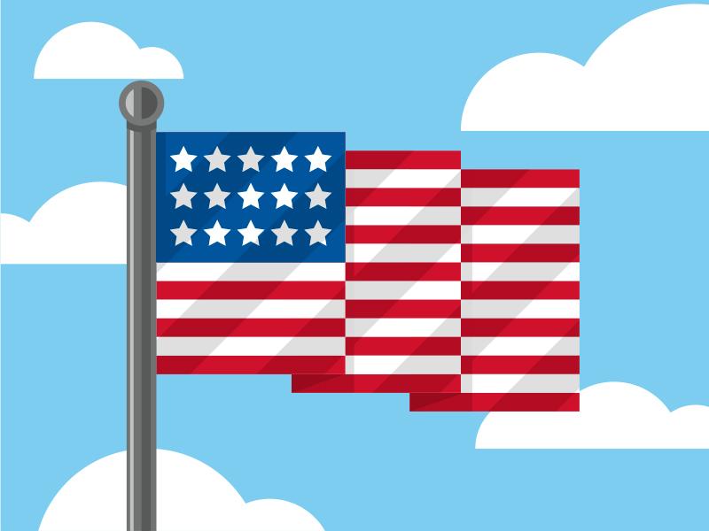 Flying Flag illustration flag red white blue flat color