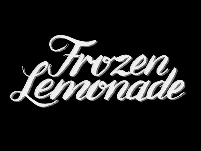 Frozen Lemonade BW hand made brush script lettering typography