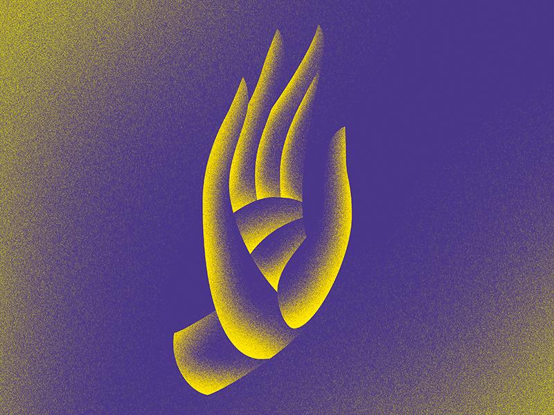 Hand texture yellow purple illustration color hand