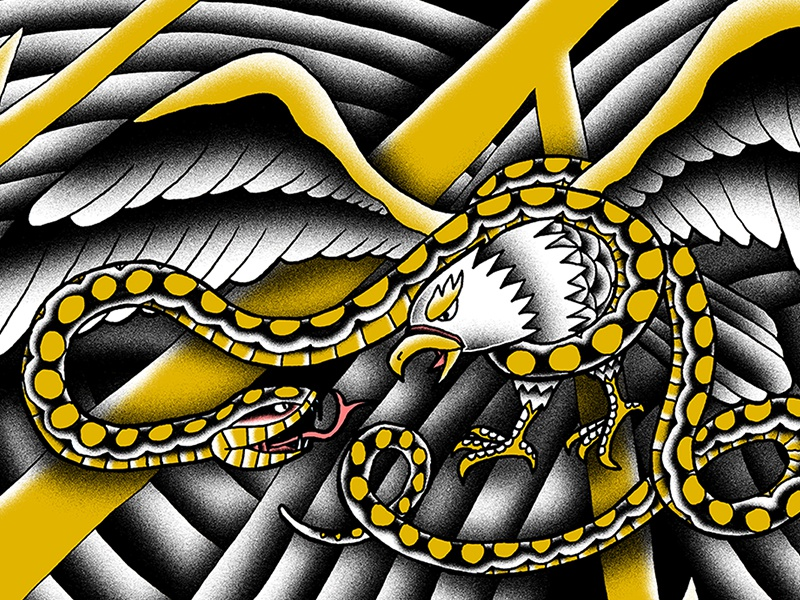 Eagle and Snake tattoo lightning texture yellow black illustration color