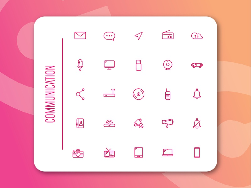 Icon Sets : Communication icongraphy logo apps design illustration branding icon pack system icon icon set web design app ui icon ui design icon app icon