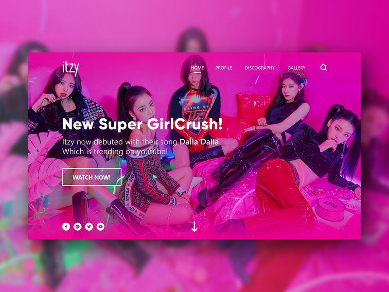 ITZY - Landing Page web design android ios dashboard ux design idol kpop website design app user interface design landing page ui  ux illustration web  design ui design ui user interface branding app