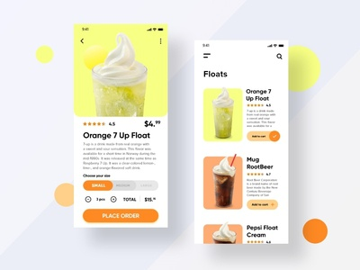 Drink Order App - Floats Page