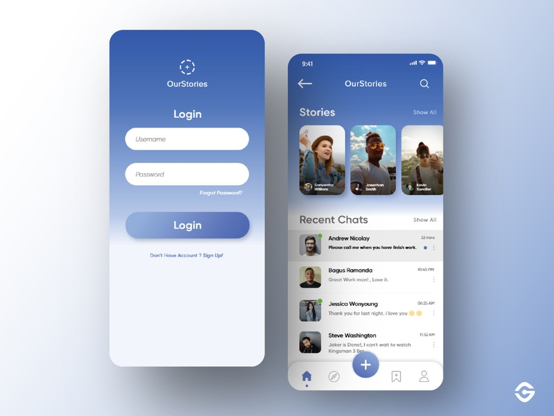 Social Media - OurStories App blue gradient ux design ui  ux ui kit clean ui concepts dashboad blue userinterface mobile ui gradient ios app dashboard mobile social media ui design branding ui user interface