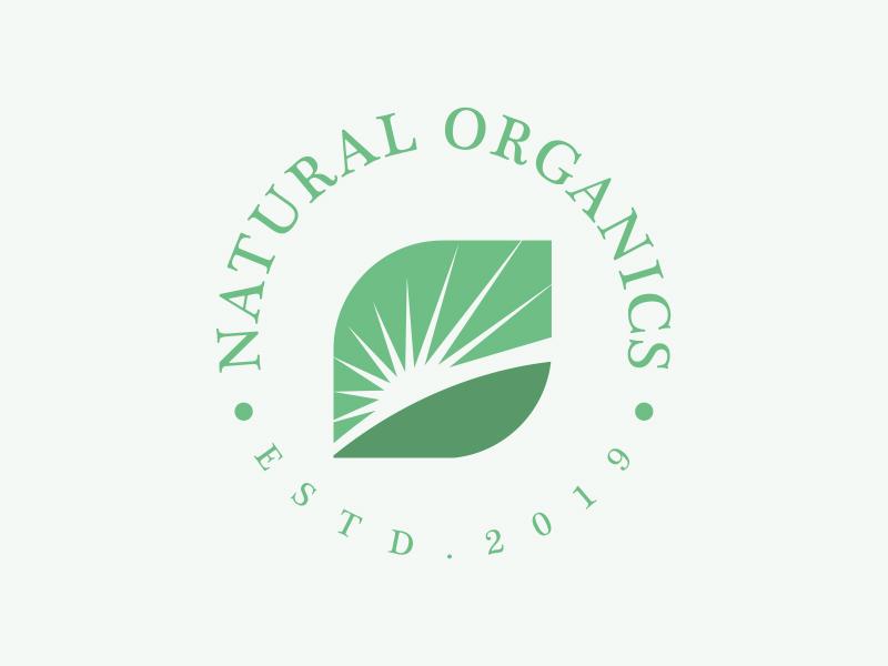 Natural Organics emblem emblem logo sun organics identity branding supplement nature logodesign logo
