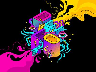Psychedelic Logo Art vivid psychedelic hand fish eye drop waves web vector illustration
