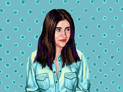 Portrait of Kate circle lips jacket pattern turquoise girl