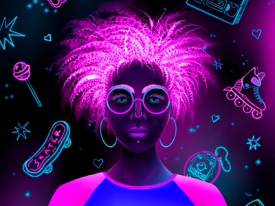 90s girl stickers face eyes pink girl ink glasses tshirt afro 90s neon sign neon girl neon colors neon illustration flat
