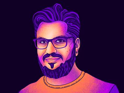 Portrait website ui character mustache beard hair tshirt glasses portrait man web vector flat illustration