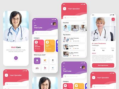 Medi Care Application _ iOS consulting specialist near to you doctor medicare medical branding pen tool design app digital art photoshop illustration colour adobexd ui