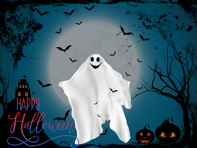 Spooky_Halloween_Dark bat ghost dark dribbbleweeklywarmup spooky halloween ios adobe pen tool digital art app photoshop illustration colour adobexd ui