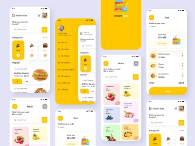 Instant Eat _ Customize Application inspiration few minutes eat food delivery instant eat landing screen digital art app photoshop ios adobe illustration colour adobexd ui