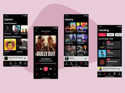 Music 🎵 iOS redesign _ iOS Music Application Dark mode