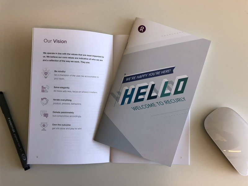 Recurly New Hire Welcome Booklet welcome company vision swag onboarding
