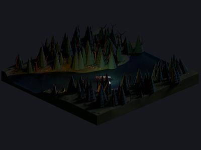 Lonely creak night boat creak river forest design isometric fantasy blender 3d