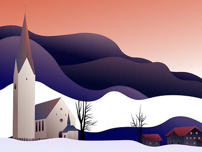 Austrain Hills vector illustration