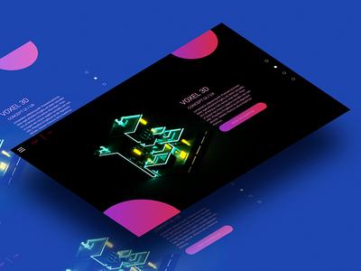 Website Voxel 3D neon 3d voxel webdesign