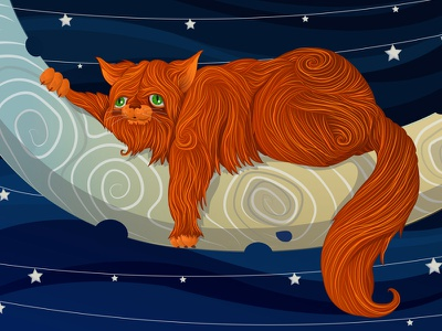Fat Cat On The Moon illustration