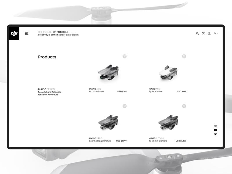 Redesign DJI website redesign mavic design minimalism minimal ux ui website webdesign