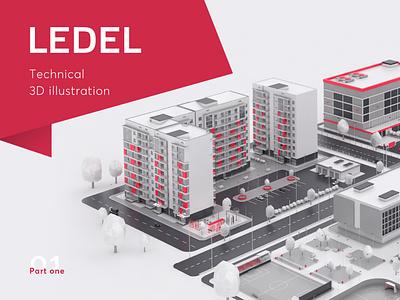 Ledel 3D illustration Slide