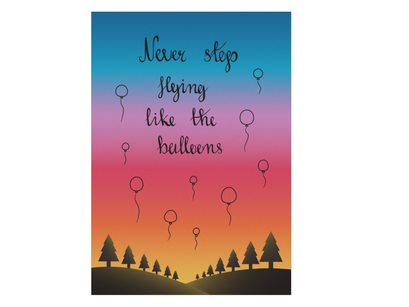 Never stop flying like the balloons typography sunset motivational quotes balloons llustrator vector illustration