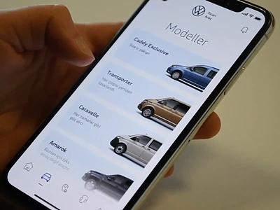 Volkswagen App Concept - Models color change models card cards ux design ui design ux volkswagen concept automobile concept design animation car app interaction design interaction ui ui  ux