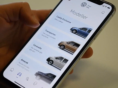 Volkswagen App Concept - Models color change models card cards ux design ui design ux volkswagen concept automobile concept design animation car app interaction design interaction ui ui  ux