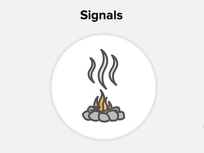 Signals signals smoke campfire line art illustrator
