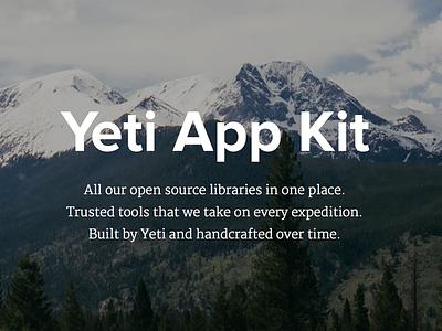 Yeti App Kit tools open source photography mountains app kit yeti
