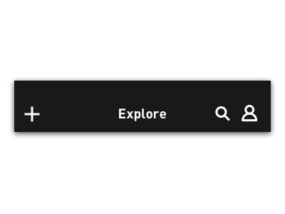 Title Bars navigation grayscale white black add search profile user explore din icons ios