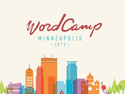 Wordcamp MPLS illustration skyline script logo wordcamp