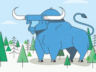 Ol' Babe babe blue ox backdrop illustration