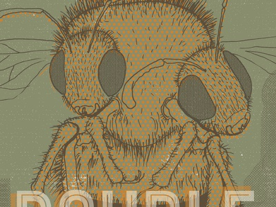 Double Bubble poster imperial ipa rush river two headed bee mmmmmmmm illustration ipa beer