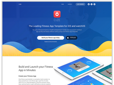 EsyFit - Create Your Fitness App in a Split Second clean mobile web visual design ui apple watch ipad iphone ios tracker landing page fitness