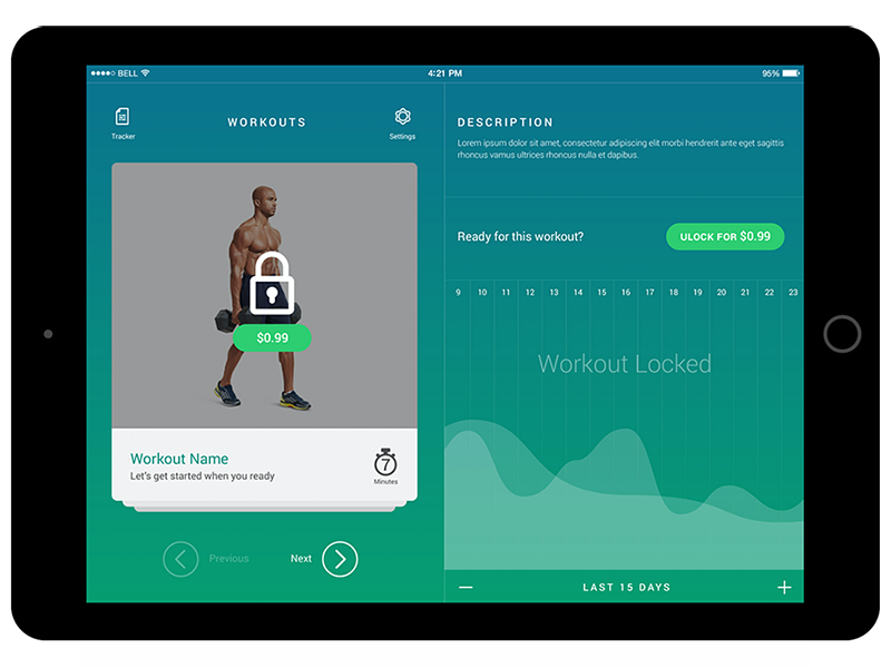 Tracker Your Progress purchase calories ipad ios ux ui fitness tracker