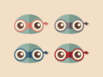 Teenage Mutant Ninja Turtles flat turtles ninja green illustration teenage eyes icons design