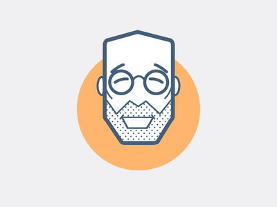 Happy psychologist ios badge flat face icon smile glasses old man simple clean design illustration