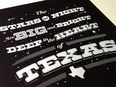 The Stars at Night black texas stars screen print typography usa white screenprint