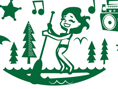 Austin Summers t-shirt austin stand up paddling summer music boombox waves illustration