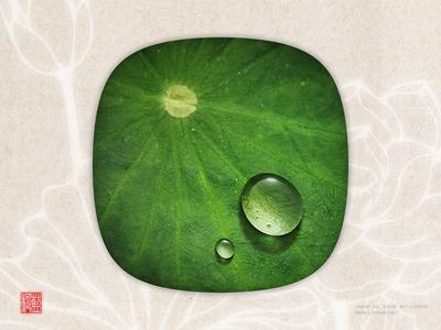 Dewdrop on a lotus leaf by Photoshop