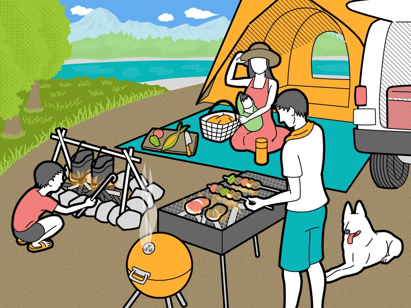 Camp illustration family