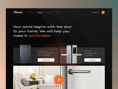 iDoors Home Page business designer dark catalog ecommerce design interaction webdesign website web lock product design landing page landing doors door shopping principle animation ecommerce