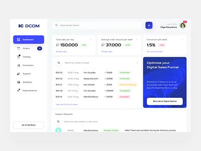 DCOM — Dashboard UI system digital crm sales data interaction interfacedesign interface userinterface user platform ux ui dashboard