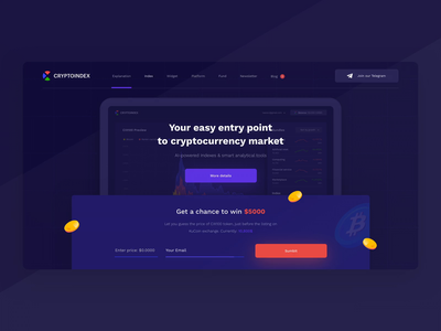 Cryptoindex — Landing Page animation design blockchain crypto interaction interface ui landing page landing header web platform ico form startup analysis