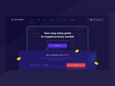 Cryptoindex — Landing Page animation design blockchain crypto interaction interface ui landing page landing header web platform ico form startup analysis