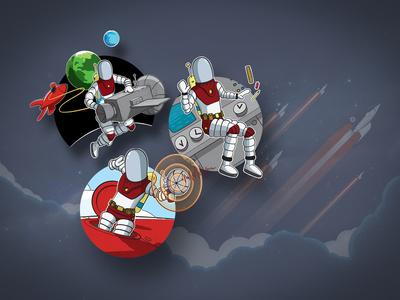 Rocket Five Design Illustrations