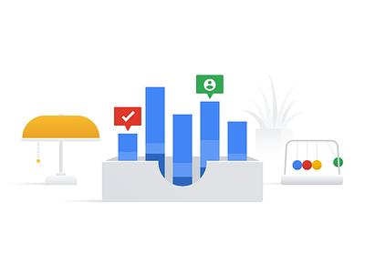 Google Reporting Illustration II graph office report data metrics google design vector illustration