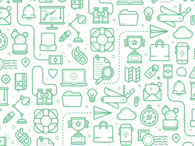 Help Scout Icon Pattern explore outline stroke trophy bell cactus map binoculars iconography marketing icon pattern icon